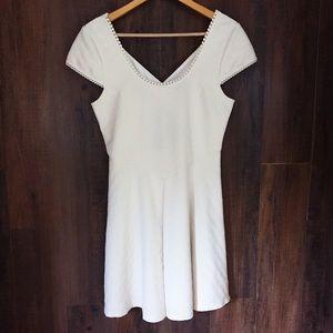 Free People Off White Short Sleeve Mini Dress